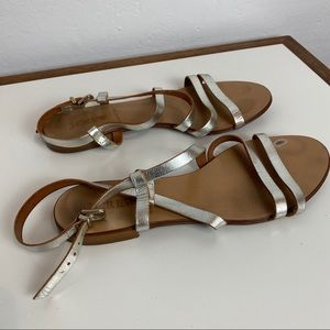 J CREW Silver Metallic Leather Strap Sandals 7M